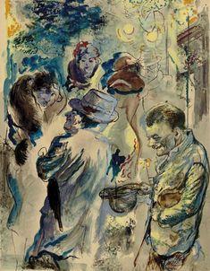 poboh:  Bettler Strassenszene, Berlin, 1928, George Grosz. German Expressionist Painter (1893 - 1959)