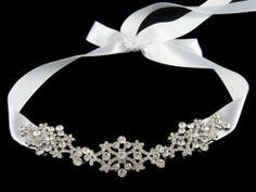 VALLERIE (Petite)- Victorian Rhinestone Wedding Bridal Headband, Silk Ribbon Bridal Headband, Bridal Hair Accessories, Vintage Inspired