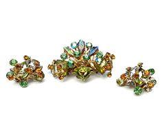 Vintage Floral Spray Brooch & Earrings Molded Glass Irridescent Rhinestones 1950s