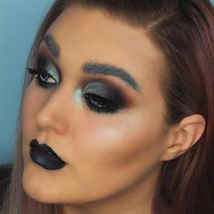 (IG: @kayla_aston) Grungy Goth Glam Makeup | Half Cut Crease Goth Makeup, Eyebrow Makeup, Beauty Makeup, Half Cut Crease, Goth Glam, Winged Liner, Makeup Inspiration, Makeup Ideas, Makeup Addict