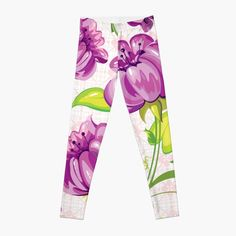 'Purple Floral Wallpaper Abstract Design' Leggings by CreatedProto Best Leggings For Work, Trick Or Treat Bags, Abstract Flowers, Best Christmas Gifts, Made Goods, Artwork Prints, Cool Things To Make, Fun Workouts, Knitted Fabric
