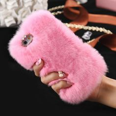 Pink Fluffy Villi Fur Plush Wool Bling Case Cover Skin For iPhone 6/ 6S Plus
