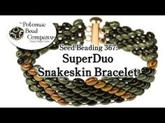 New tutorial featuring Czech SuperDuo two hole beads and using them to make a snakeskin bracelet (using peyote stitch) http://www.potomacbeads.com