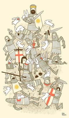 Beware the rabbits! Bad Tempered Rodents Art Print Inspired by the killer rabbit scene in Monty Python and the Holy Grail Monty Python, Illustrations, Illustration Art, Roi Arthur, King Arthur, Cultura Pop, Geek Culture, Radios, Geek Stuff