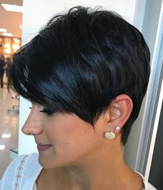 Cute Black Pixie with Side Bangs