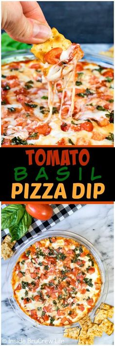 Tomato Basil Pizza Dip - gooey melted cheese loaded with fresh tomatoes and basil makes a delicious dip that will disappear in minutes. Great recipe for after school snacks or game day parties! #cheese #dip #hotdip #tomato #gameday #appetizer #afterschoolsnack