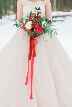 Blush and Red Velvet Winter Snow Bridals | Kristin Partin Photography on @perfectpalette via @aislesociety