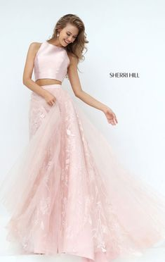 280f701726da Sherri Hill 50787 2017 Two Piece Lace Blush Prom Dresses