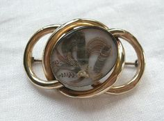 Victorian 9ct Gold Knot Shaped Locket Back Hair Mourning Brooch