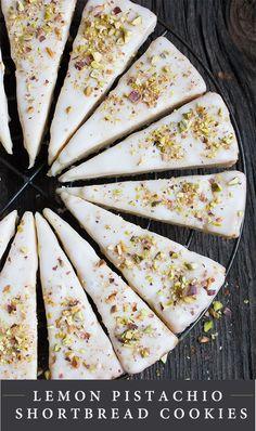 Lemon Pistachio Shortbread Cookies - pretty, easy and delicious! #shortbreadcookies #holidaybaking #recipe