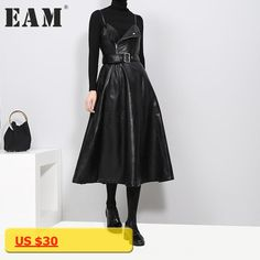 [EAM] 2018 new spring solid color strapless black PU leather high waist belt zipper loose dress for women fashion tide JD032