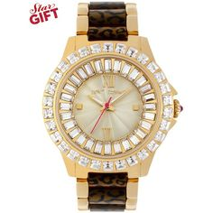 Betsey Johnson Watch, Women's Leopard Acetate and Gold-Tone Stainless Steel Bracelet 40mm BJ00004-21 - A Macy's Exclusive