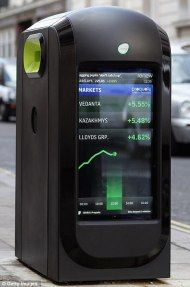 """The object you're looking at right now is what the city of London calls a """"smart bin."""" Built by Renew, the smart bins are being installed on the streets of London and have two massive LCD screens slapped on the sides."""