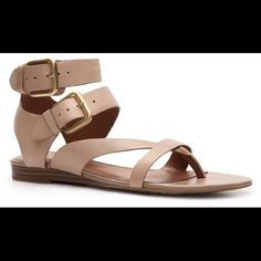PRICE DROPFranco Sarto Gladiator Sandals Super cute sandals! I only wore these once. Just normal wear on them. **these are tan not dark brown** Leather upper Two adjustable ankle straps Synthetic sole Make an offer No trades  Franco Sarto Shoes Sandals