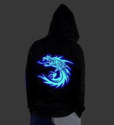 221dcac23ef9 Dragon glow in the dark hoodie for men hip hop Shuffle sweatshirt with hood
