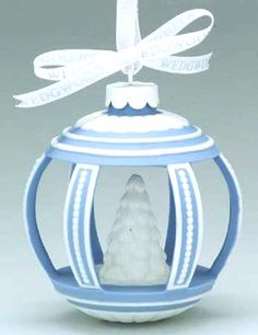 WEDGWOOD ANNUAL Jasperware ORNAMENT -  Blue/White Tree in Center -  New in Box
