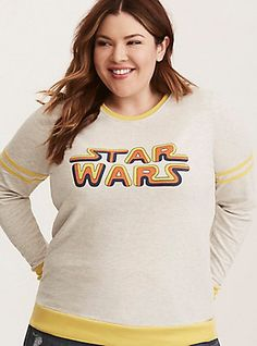 Plus Size Her Universe Star Wars Vintage Logo Sweatshirt, OATMEAL HEATHER