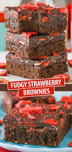 These Fudgy Strawberry Brownies are made with a dense brownie on the bottom and fudgy chocolate on top thats studded with dried strawberries! The chocolate combined with the pop of fruit is so good Im in love with them! Strawberry Brownies, Strawberry Dessert Recipes, Best Dessert Recipes, Fruit Recipes, Fun Desserts, Sweet Recipes, Baking Recipes, Delicious Desserts, Bar Recipes