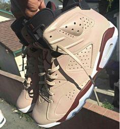 Tan x Deep Burgundy for - leathers lace from painted to match Jordan Retro 6, Nike Free Shoes, Nike Shoes, Jordan Swag, Custom Jordans, Curvy Petite Fashion, Nike Air Jordans, Retro Jordans, Air Jordan Shoes
