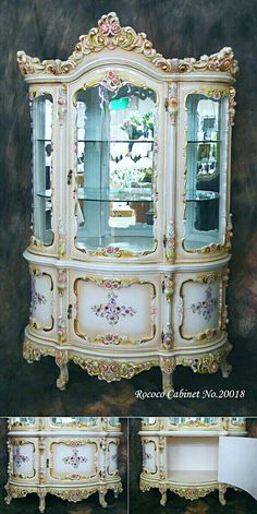 This piece of furniture is representative of the Rococo time period. It has a multitude of decorative aspects to it , and nature is included in both the carving decoration and painted on the curved panels. Rococo Furniture, French Furniture, Unique Furniture, Shabby Chic Furniture, Luxury Furniture, Vintage Furniture, Furniture Decor, Painted Furniture, Furniture Design