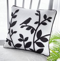 bird silhouette wool felt pillow