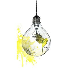 """Watercolor Light Bulb Painting Print titled, """"Shattering"""" Yellow Bird,... via Polyvore featuring home, home decor, wall art, yellow home accessories, glass painting, matte painting, watercolor bird paintings and bird home decor"""