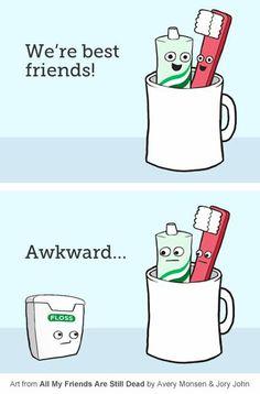 awkard floss threesome - dental humour