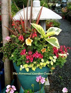 outdoor flower pot arrangements | ... Container Garden Design: Black amp; Tan