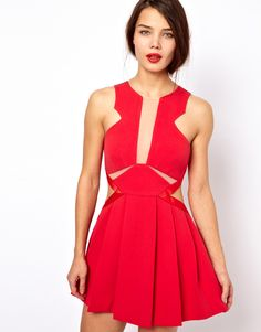 Three Floor Look See Fit & Flare Dress With Cut Out Detail