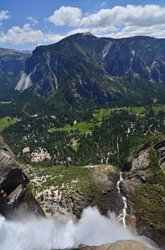 Upper Yosemite Falls and a View of the Valley