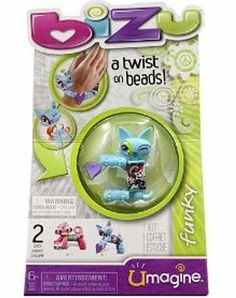 Umagine Bizu Basic 2Pack Funky by Spin Master. $3.75. Get fashion forward with Glam, Rock, Funk, or Wild styles.. Includes:2 heads, 3 charms,2 body beads, 8 leg /arm beads(4 pairs), 2 tails, 2 elastics with clasps, 1 braclet beading tool, 2 Character Templates, and 1 instruction guide.. With a simple twist you can convert your Bizu from bracelet to animal, and back again!. Spice up your backpack or cell phone using the Bizu chain attachment.. Use mix?n?match play to...