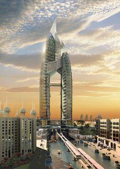 Trump Tower, Dubai, U. One of the creations buildings in Dubai. Unusual Buildings, Famous Buildings, Interesting Buildings, Amazing Buildings, Dubai Buildings, Modern Buildings, Future Buildings, Trump Tower, Architecture Unique