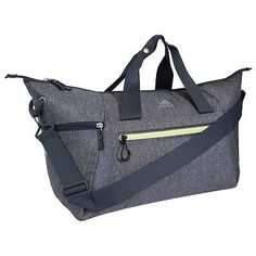Gym-Duffel-Bag-Womans-Deep-Gray-Athletic-School-Sport-w-Special-Pocket-Features