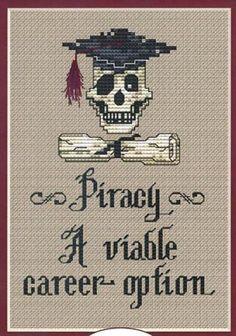 Piracy Post Stitches pirate cross stitch chart Sue Hillis Designs $5.40  #pirate