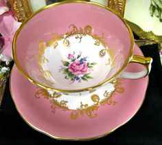 i have this one. AYNSLEY TEA CUP AND SAUCER PINK ROSE TEACUP