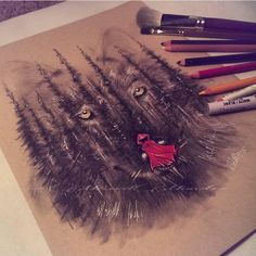 """""""'And There Was A Wolf' By @mixxedmonster  _ Via @worldofpencils  _ Also check out our new art featuring page @artshelp"""""""