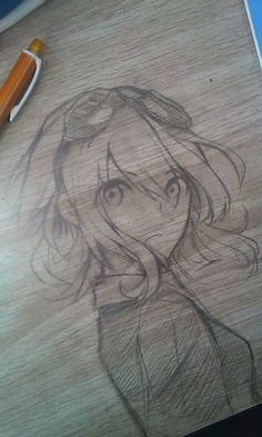 ✮ ANIME ART ✮ anime girl. . .goggles. . .doodle. . .drawing on a desk. . .pencil. . .graphite. . .cute. . .kawaii