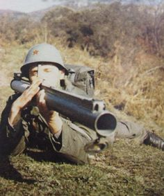 Yugoslav soldier armed with a M80 Zolja anti-tank weapon.