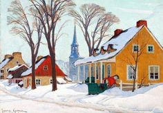 size: Stretched Canvas Print: Winter Morning in Baie-St-Paul by Clarence Alphonse Gagnon : Using advanced technology, we print the image directly onto canvas, stretch it onto support bars, and finish it with hand-painted edges and a protective coating. Canadian Painters, Canadian Artists, Baie St Paul, Clarence Gagnon, Beautiful Winter Scenes, Of Montreal, Painting Edges, Painting Abstract, Print Artist