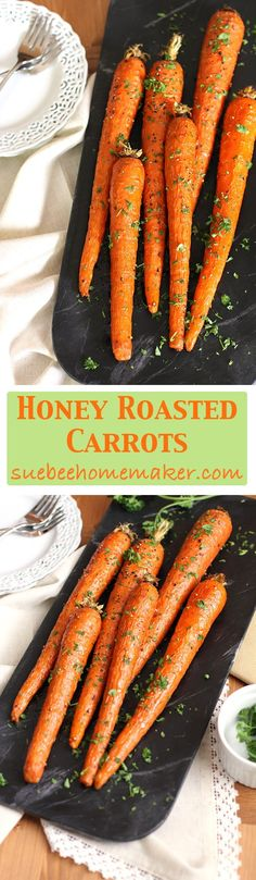 Honey Roasted Carrots are a simple side dish, combining carrots with olive oil and honey, salt and pepper, and fresh parsley! Slightly sweet and SO good!