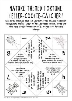 FREEBIE! A great outdoor ice breaker activity to get your kids discussing, sharing and doing! Nature themed fortune-teller-cootie-catcher!