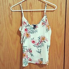 Classy White Pink Floral V-neck Tank Top Perfect condition. The tank top has adjustable straps Forever 21 Tops Tank Tops