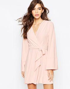 blush kimono wrap dress