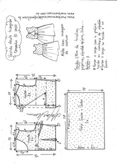 Vestido com decote triangular – DIY- marlene mukai – molde infantil Doll Clothes Patterns, Clothing Patterns, Sewing Patterns, Loom Knitting Stitches, Baby Sewing, Pattern Paper, Sewing Hacks, Diagram, Chart