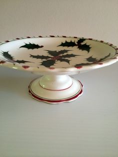 Vintage Lenox Christmas Holly, Berries and Candy Cane Dessert Stand #Lenox