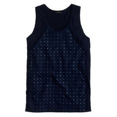 J. Crew Embellished Navy Blue Tank Top XS NWT Rhinestone rows allover front. Great summer tank top. Cool, lightweight cotton fabric and slightly loose, airy fit. J. Crew Tops Tank Tops