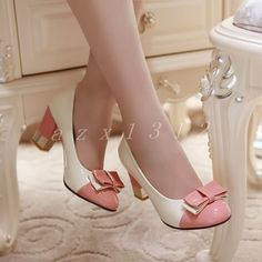 Vintage Shoes Cute Womens Faux Leather Bow Lolita Chunky Heel Color Stitching Ol Date Shoes Sz Date Shoes, Bow Shoes, Dress Shoes, Women's Pumps, Pump Shoes, Shoe Boots, Shoes Heels, Pretty Shoes, Beautiful Shoes