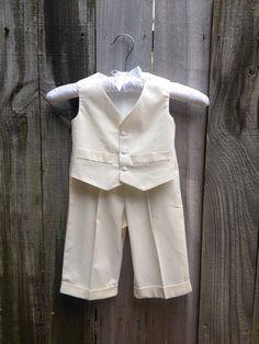 Baby Boys Suit, 3 Piece, Lined Vest, Shirt, Cuffed Pants, Baptism, Christening, Dedication, Ring Bearer, Sizes XS-XL  (Medium Ready to Ship)