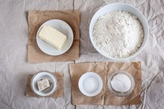 still life with baking ingredients like butter yoast flour sugar and salt. Like Butter, White Food, Juicing For Health, Baking Ingredients, Feta, Camembert Cheese, Health And Beauty, Biscuits, Easy Meals