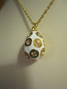 Vintage FABERGE Egg Pendant Necklace 22K Gold Swarovski Hand Enameled
